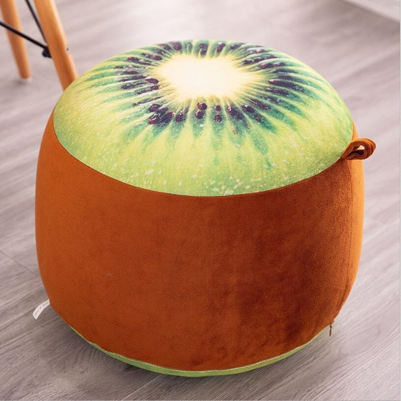 1pcs inflatable Stool thickening Cotton Cover Cartoon Plush 3D fruit inflatable Pouf Chair Lovely Pneumatic Stools Portable - KbnMart