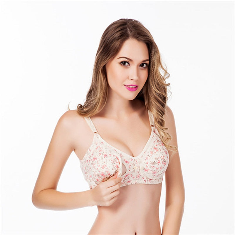 Pregnant Women Underwear Breast Feeding Nursing Bra Flower Breastfeeding Maternity Bra Front Poppers Nursing bras For Mothers - KbnMart