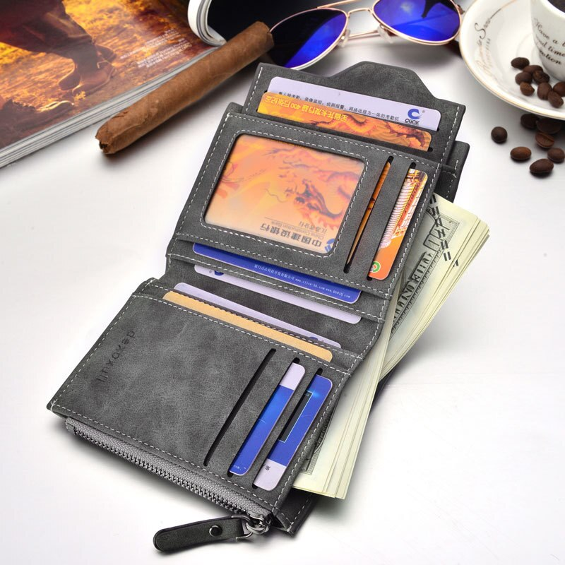 Men Soft Leather wallet with removable card slots multifunction men zipper wallet purse male clutch - KbnMart