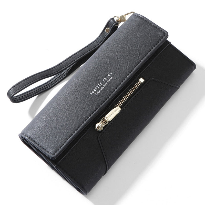 Forever Young Wristlet Clutch Wallet Women Many Departments Female Wallet Zipper Designer Ladies Purse Handbag Cell Phone Pocket - KbnMart
