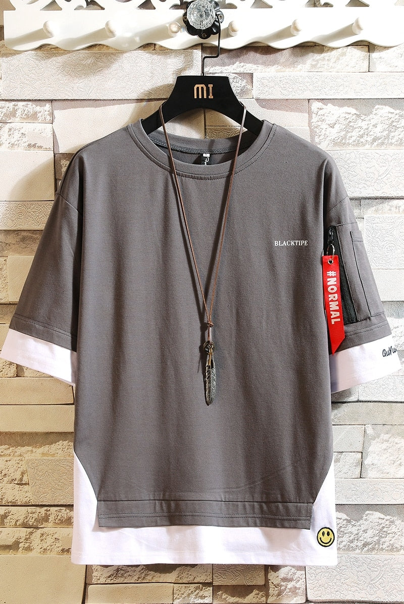 Fashion Half Short Sleeves Fashion O NECK Casual T-shirt Men's Cotton Summer Clothes For Men - KbnMart