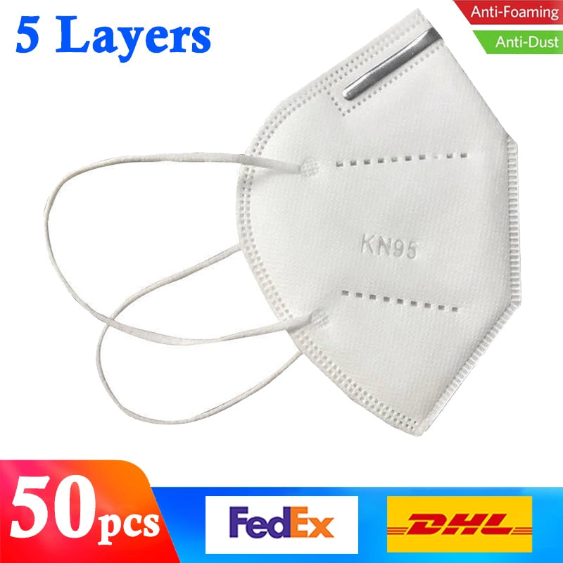 KbnMart 50pcs/lot Fast Shipping Filter Mouth Face Mask High Quality 5-Ply Anti Dust Masks Protective Respirator Reusable Safety Facemask - KbnMart