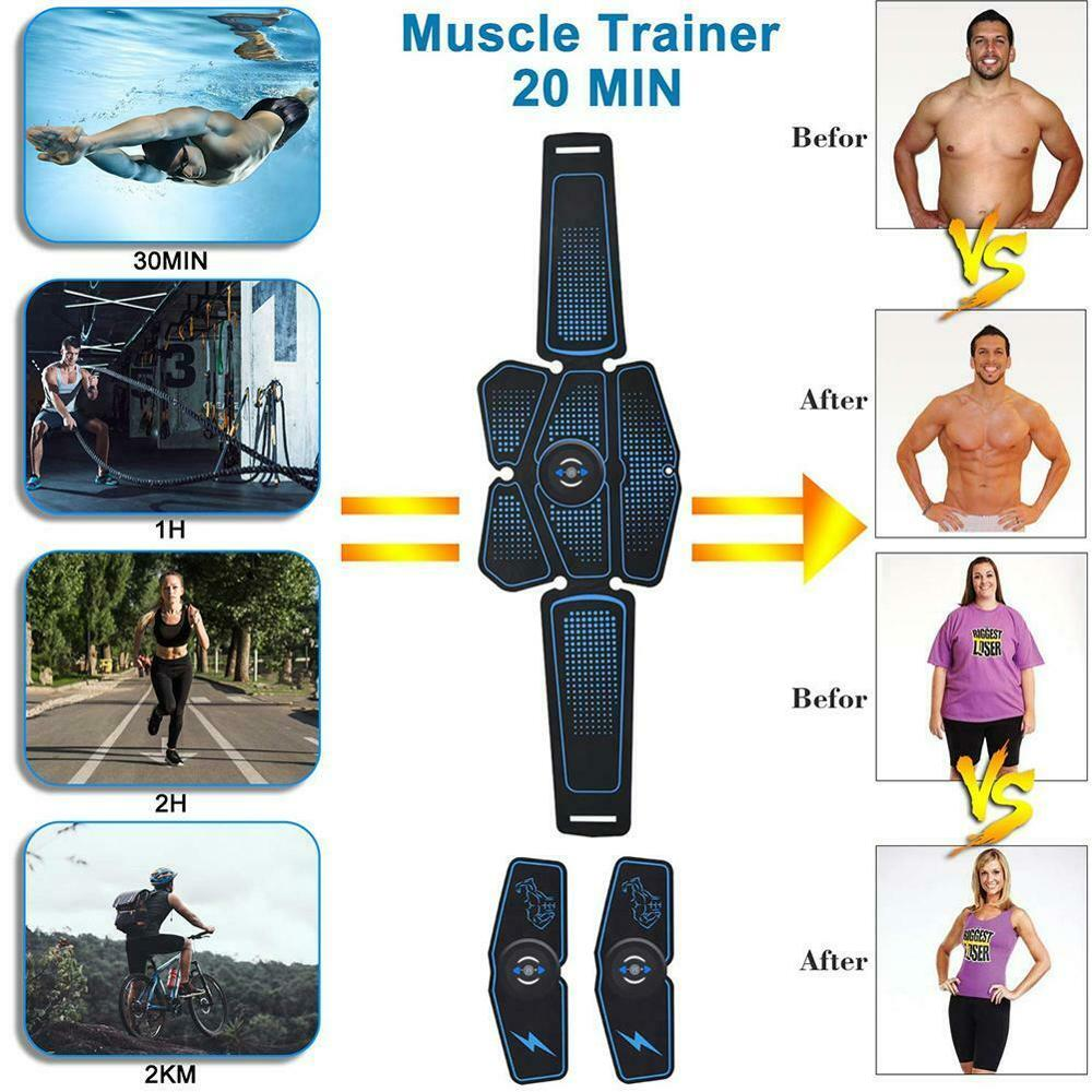 Abdominal Muscle Stimulator Trainer EMS Abs Weight Loss Fitness Equipment Training Electrostimulator Toner Exercise Sport Kit