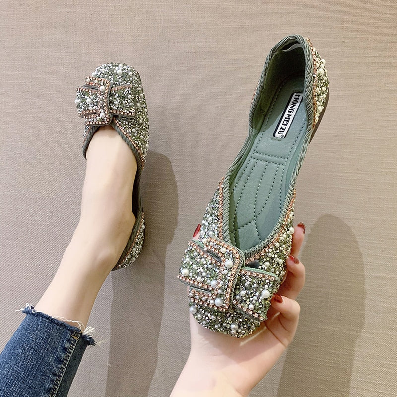 Ladies Bling Crystal Diamond Black Pink Dress Flats Womens Bow Sequins Single Shoes Rhinestone Glitter Square Toe Ballet Flats - KbnMart