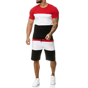 Men's 2 Piece Outfit Sport Set Stripe Print Casual Shorts Set Summer Fashion Clothing Male Short Tracksuit - KbnMart