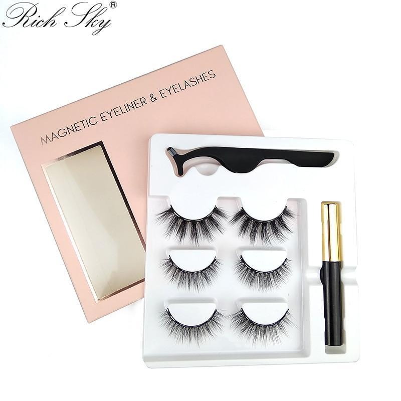 KbnMart 3 Pairs Magnetic Eyeliner Eyelashes  Makeup Tweezer Set Custom Lash Boxes logo Magnetic Eyelashes - KbnMart