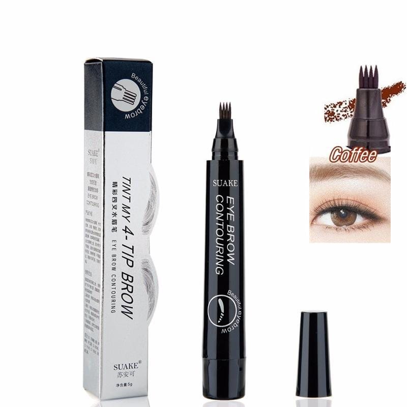 KbnMart 4 Colors 3D Microblading Eyebrow Tattoo Pen 4 Fork Tips Fine Sketch Liquid Waterproof Pencil - KbnMart