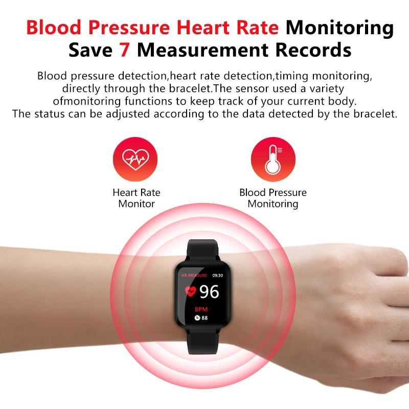 KbnMart B57 Smart watches Waterproof Sports for iphone phone Smartwatch Heart Rate Monitor Blood Pressure Functions For Women men kid - KbnMart