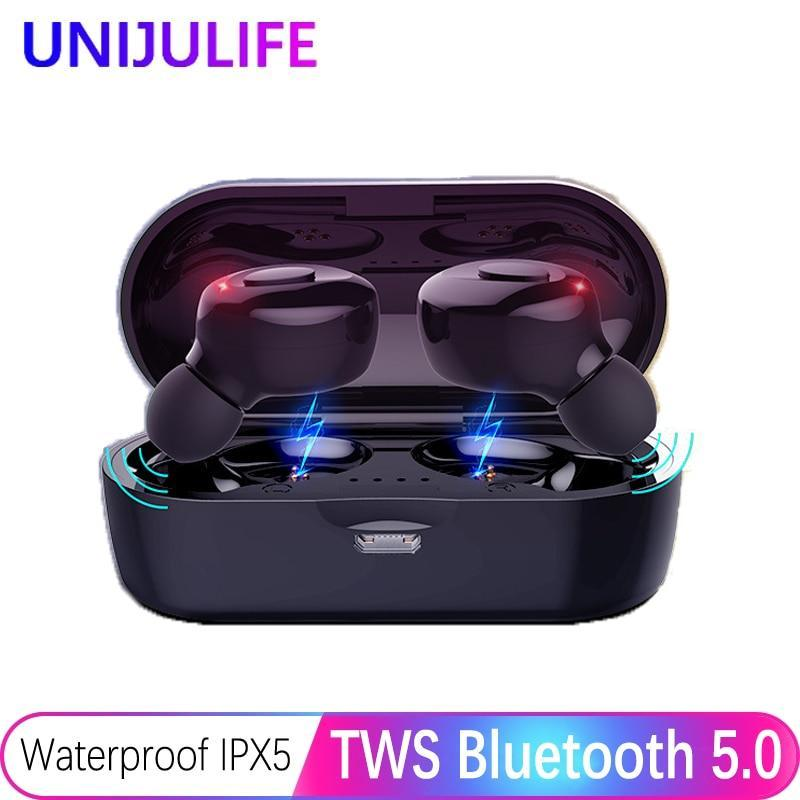KbnMart Bluetooth Earphones True Wireless Headphones 5.0 TWS in-Ear Earbuds IPX5 Waterproof Mini Headset 3D Stereo Sound Sport Earpiece - KbnMart