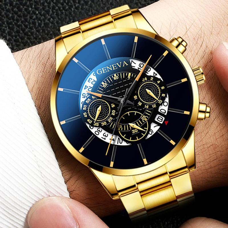 KbnMart Fashion Men Stainless Steel Watch Luxury Calendar Quartz Wrist Watches Business Casual Watch for Man Clock Relogio Masculino - KbnMart