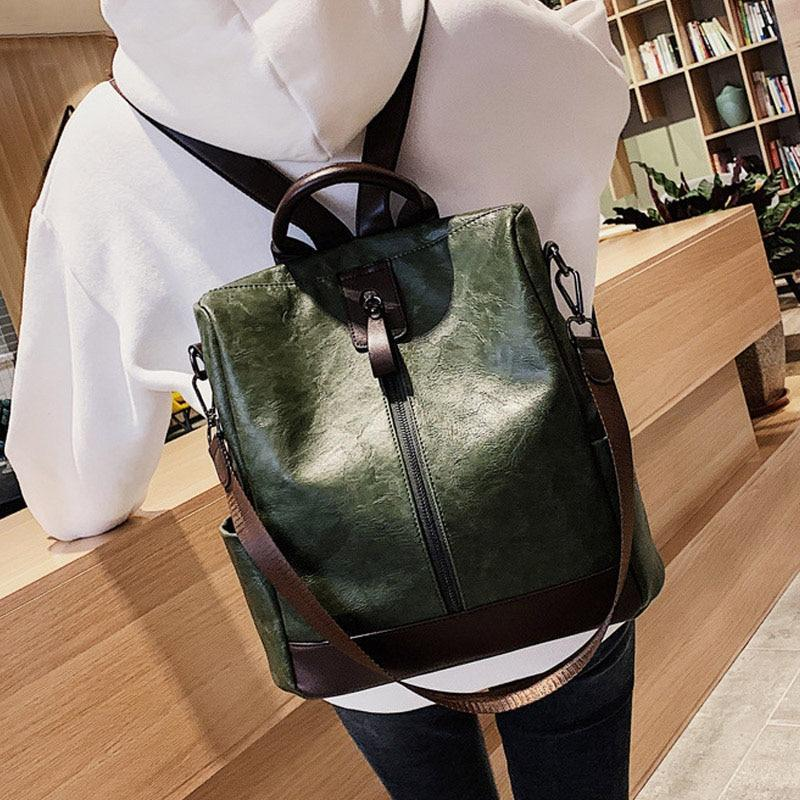 KbnMart Fashion Women High Quality Leather Backpack Multifunction Leatherett Backpack For Female Big Bookbag Travel Bag - KbnMart