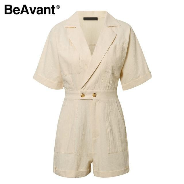 KbnMart Solid Beige Women Short jumpsuit romper High Waist Casual Playsuit Cotton Female Spring summer V Neck Sexy overalls 2020 - KbnMart