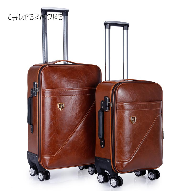 Brown Retro PU Leather Rolling Luggage Spinner Brand Suitcase Women Cabin Trolley