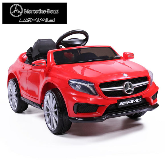 KbnMart Licensed Mercedes Benz Kids 4-Wheel Soft Seat Ride On Car Toy with Remote Control 12V Power Battery AMG GLA Baby Stroller TY0452