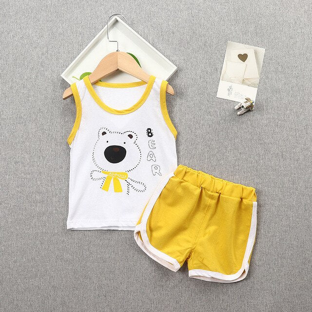 KbnMart New Summer Children Casual Clothing Suit Baby Boys Girls Cartoon Vest Shorts 2Pcs/sets Kids Infant Lovely Toddler Clothes - KbnMart