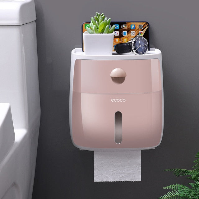 KbnMart Double Layer Toilet Paper Holder Waterproof Storage Box Wall Mounted Toilet Roll Dispenser Portable Toilet Paper Holders - KbnMart