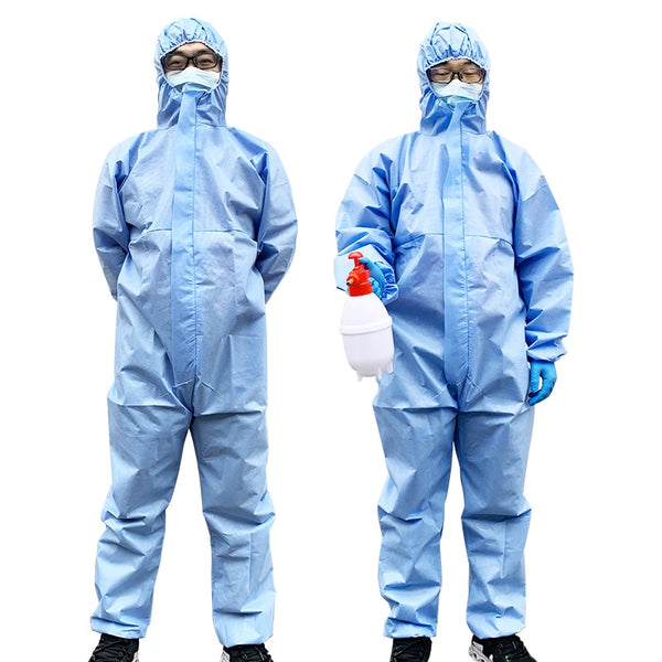KbnMart Medical Disposable Protective Coverall Hooded Suit Breathable Surgical Isolation Gown Blue Protective Clothing