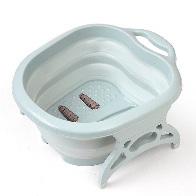 KbnMart Foldable Footbath plain foaming massage bucket Plastic foot bath basin large heightening footbath fording barrel Reduce Pressure - KbnMart