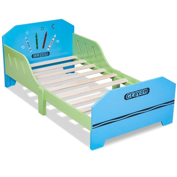 KbnMart Crayon Themed Wood Kids Bed with Bed Rails Stable and Durable Premium MDF Stringent Safety Standards Children Bed HW56666