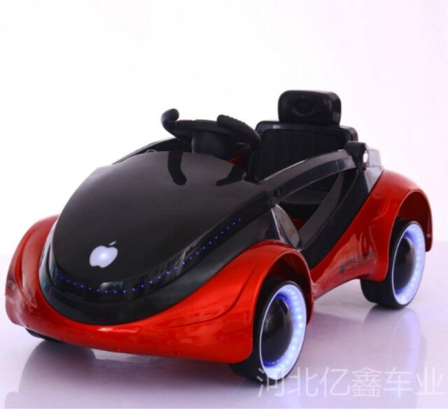 KbnMart Children's Apple Car Space Science Fiction Children's Electric Car Four Wheel Luminous Belt Remote Control Baby Sitting Toys - KbnMart