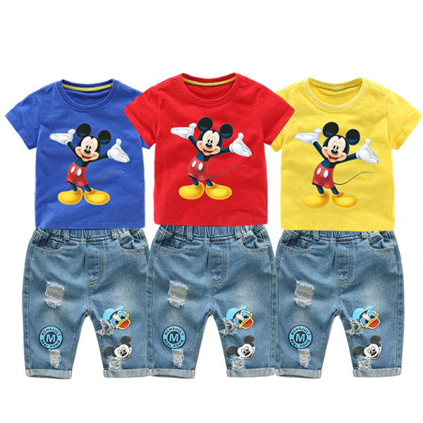 KbnMart Summer Children Boys Clothing Mickey Shorts Denim Pants Sport Suit Baby Kids Cartoon Short Sleeve T Shirt Jeans Clothes Set