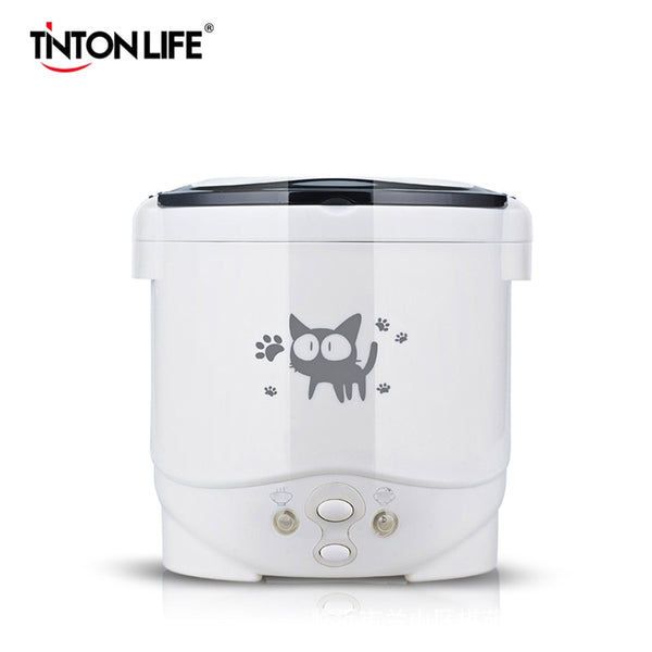 KbnMart 1L Electric Mini Rice Cooker Multifunctional Portable Cookers Used In House 220V Or Car 12V Truck 24V Used as Lunch Box