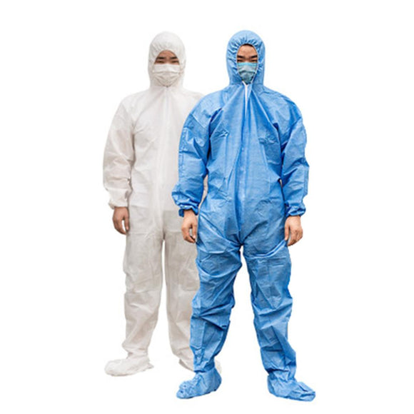 KbnMart Medical Disposable Protective Clothing Suit Breathable Surgical Isolation Gown Blue Protective Coverall Hooded Boots