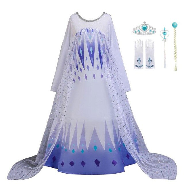 KbnMart Frozen 2 Fantastic Anna Elsa 2 Princess Dress Up White Halloween Costume Sequined Long Gown Kids Wedding Dresses Cosplay Clothes - KbnMart
