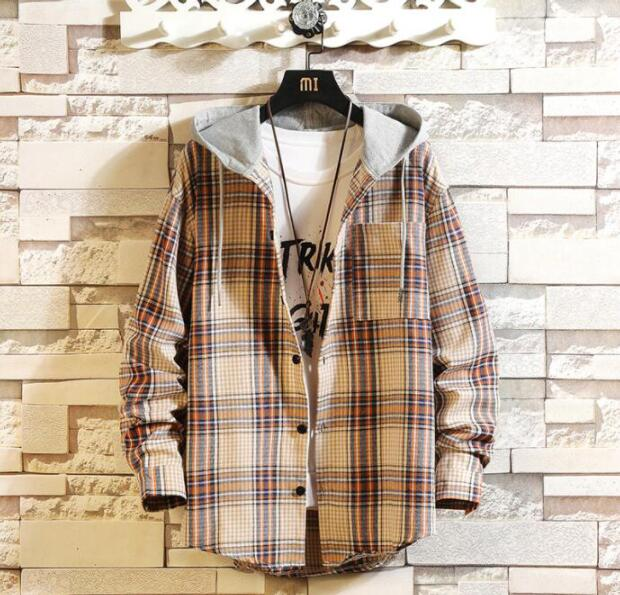 Casual Brand With Hooded Plaid Shirt Men Shirts Long Sleeves 2020 New Spring Autumn Plus Asian Size M-5XL