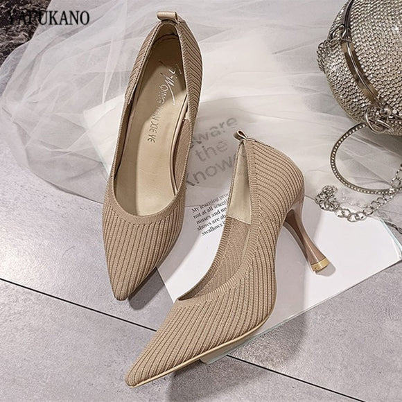 KbnMart Fashion Knitted Breathable Women Pumps 2020 New Pointed Toe High Heels Lady Shoes Wild Comfortable Thin Heel Office Work Shoes