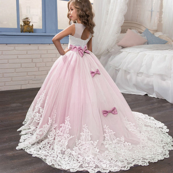 KbnMart Girls Summer Dress Flower Tail Lace Princess Dress Baby Kids Clothes Evening First Communion Dresses Vestido Verano LP-231