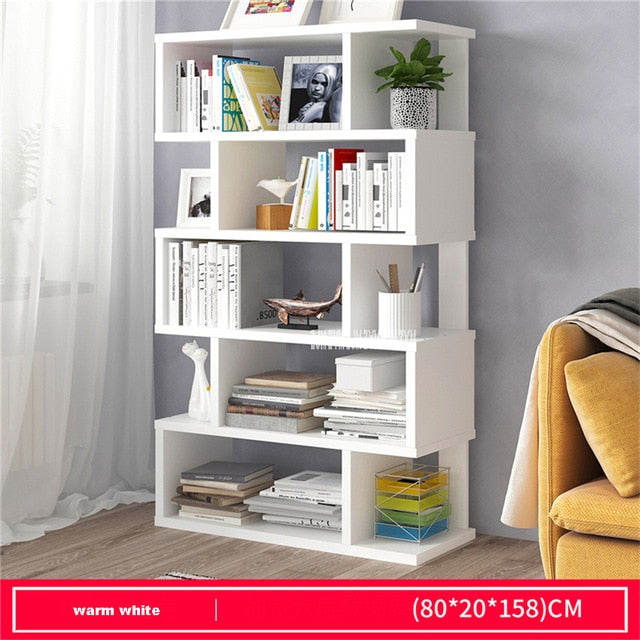 KbnMart Living Room Space Saving Small Manmade Board Floor Bookshelf Bedroom Modern Simple Multifunctional Student Display Bookcase