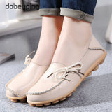 KbnMart New Moccasins Women Flats Autumn Woman Loafers Genuine Leather Female Shoes Slip On Ballet Bowtie Women's Shoe Size 35-44