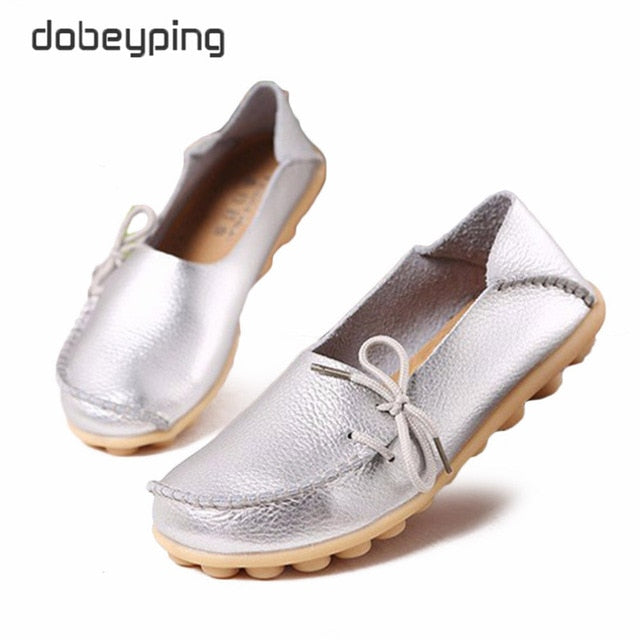 KbnMart New Moccasins Women Flats Autumn Woman Loafers Genuine Leather Female Shoes Slip On Ballet Bowtie Women's Shoe Size 35-44 - KbnMart