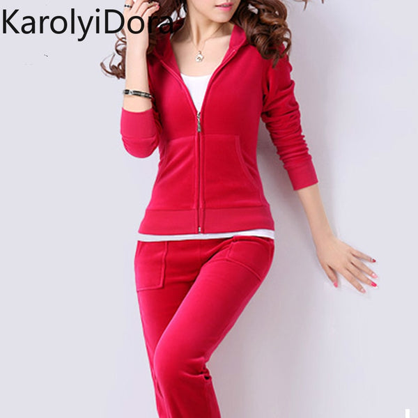 KbnMart Velvet Tracksuits 2 Piece Set Women Suit Long Sleeve Solid Color Hoodie + Elastic Waist Pant Slim Sporting Suits Hot Sale S79001