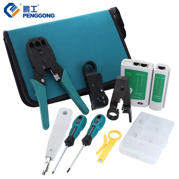 KbnMart 11 Pcs/Set Network Computer Maintenance Repair Tools Professional Kits Phillips Slotted Screwdriver Crimping Pliers Tools