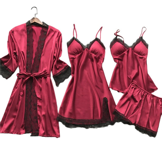 KbnMart Summer Women 4 Pcs Sexy Lace Pajama Women Satin Silk Sleepwear Elegant Pijama with Chest Pads - KbnMart