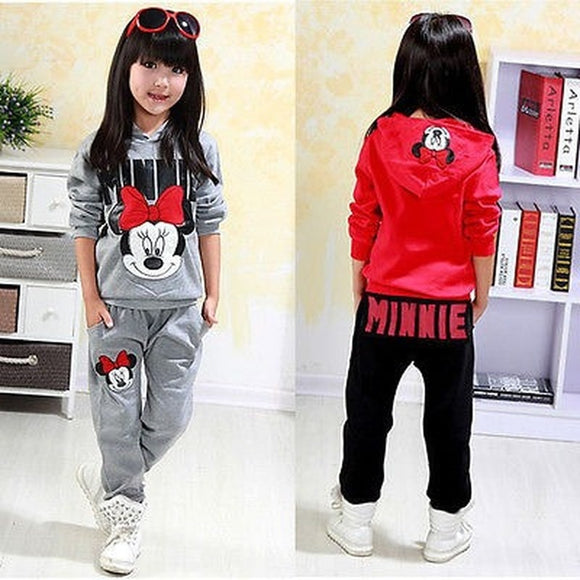 KbnMart Autumn Winter Kids Children 2PCS Clothes Sets Baby Girl Minnie Mouse Printed Long Sleeve Hooded Coat+Pants Tracksuit Outfits
