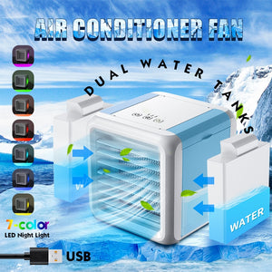KbnMart Mini Portable Air Conditioner Conditioning Humidifier Purifier USB 7 Colors Light Desktop Air Cooler Fan With 2 Water Tanks Home