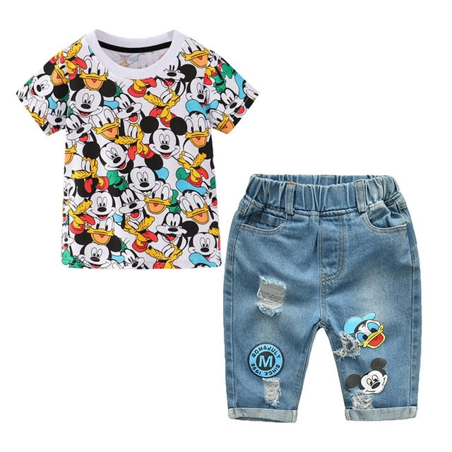 KbnMart Summer Children Boys Clothing Mickey Shorts Denim Pants Sport Suit Baby Kids Cartoon Short Sleeve T Shirt Jeans Clothes Set - KbnMart
