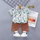 KbnMart New Baby Clothes Toddler Boy Clothes 2pcs Newborn Kids Boys Summer Tops Car Dinosaur Printed T-shirt Pants Shorts Outfits - KbnMart