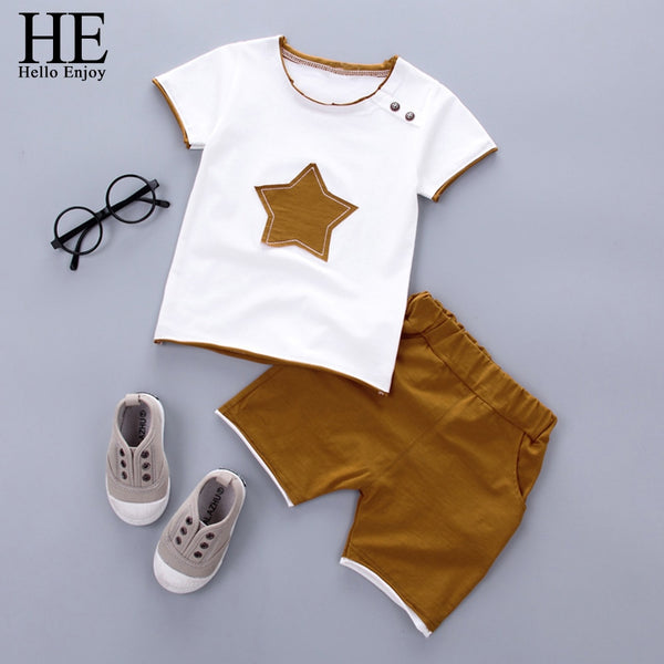KbnMart HE Hello Enjoy Kids Clothes Toddler Boys Clothing Set Children Summer Cartoon Kids Applique Star Tops Shorts Infantil Baby Suit