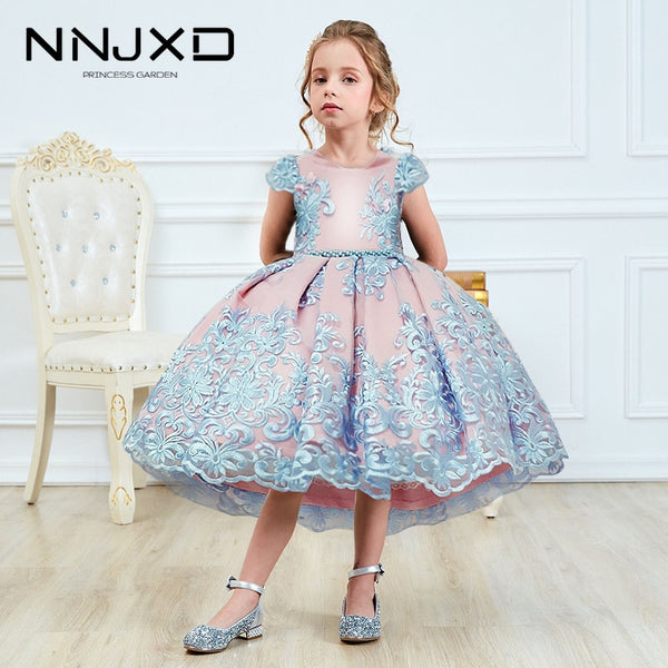 KbnMart Girls Princess Kids Dresses for Girls Tutu Lace Flower Embroidered Ball Gown Baby Girls Clothes Children Wedding Party Dress