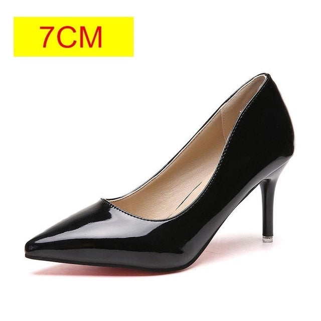 HOT Women Shoes Pointed Toe Pumps Patent Leather Dress  High Heels Boat Shoes Wedding Shoes - KbnMart