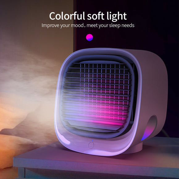 KbnMart USB Mini Air Conditioner with Colorful Light Portable Humidification Desktop Air Cooler Multifunction Summer Air Cooling Fan