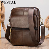 WESTAL genuine leather men's shoulder bag male small phone bag for men crossbody bag men's leather bag thin designer bags 7350 - KbnMart