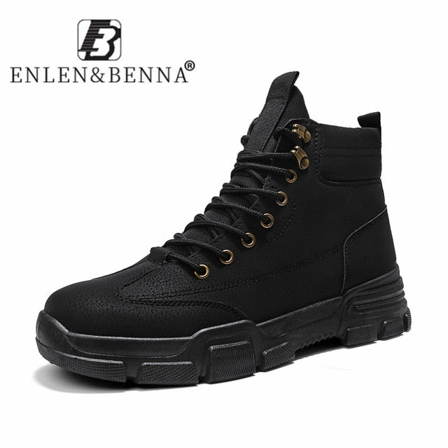 2020 New Men Boots Leather Waterproof Lace Up Military Boots Men Winter Ankle Lightweight Shoes for Men Winter Casual Non Slip - KbnMart