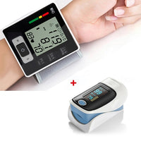 KbnMart Automatic Wrist Blood Pressure Monitor Digital Heart Beat Meter + Fingertip Pulse Oximeter RZ001 SPO2 Pulse Rate Oxygen Monitors