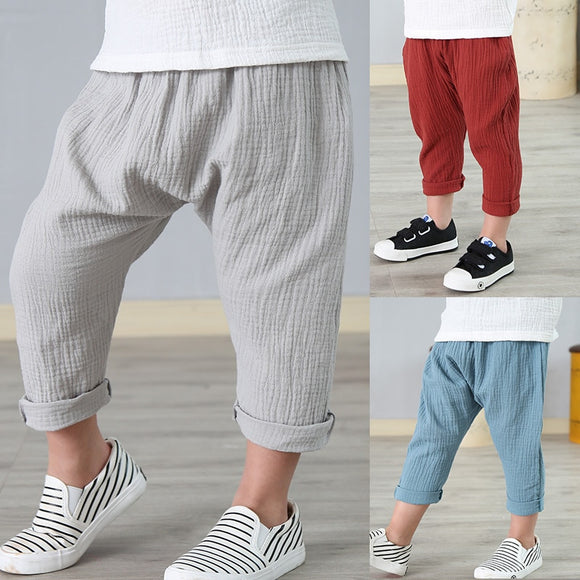 KbnMart 2-7 yrs linen pleated kids pants Hot summer girls boys pants children ankle-length pants harem pants baby boy girl clothes