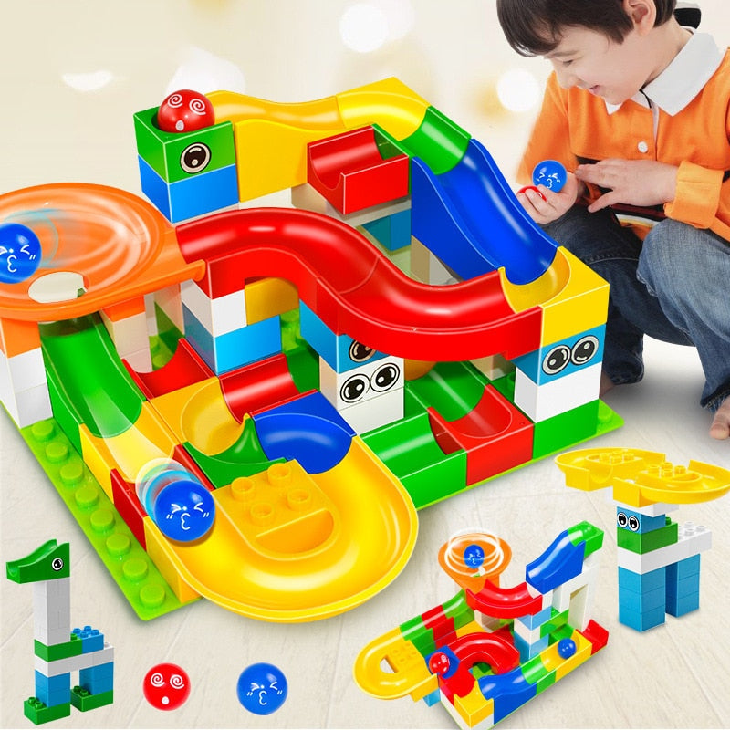 52 Pcs DIY Children Gaming Building Blocks + Construction Marble Race Run Maze Balls Track Kids Learning Educational Toys Set - KbnMart